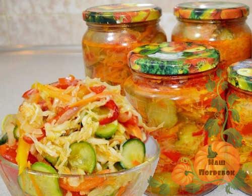 banki-s-salatom-iz-ogurcov-pomidor-kapusty
