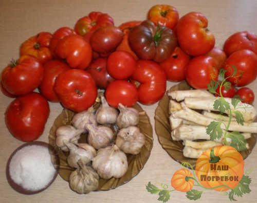 produkty-dlya-hrenoviny-s-chesnokom